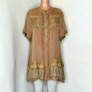 Pretty Angel Tunic Top or Dress Lace Buttons Lace
